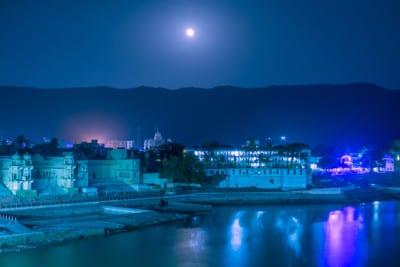 Holy Pushkar Lake at night, Rajasthan, India