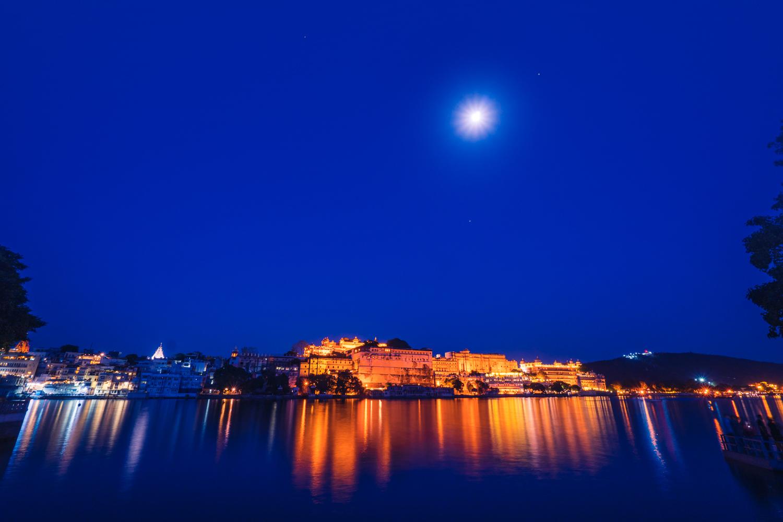 Full moon over City Palace, Ambrai Ghat, Lake Pichola